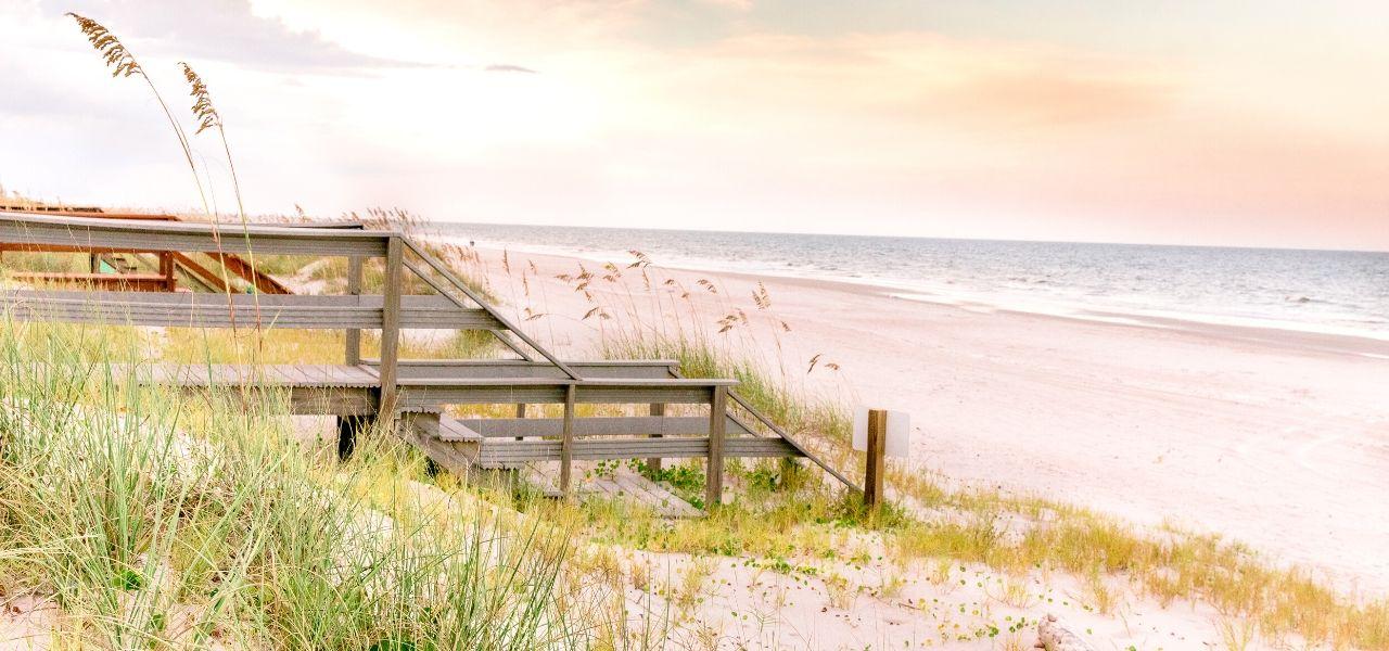 pink sky sandy oceanfront Amelia Island