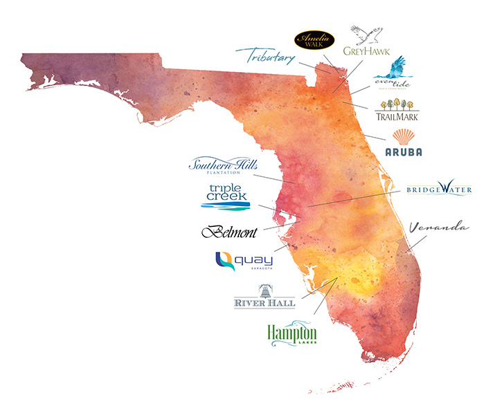Florida map of GreenPointe Developers projects throughout the state