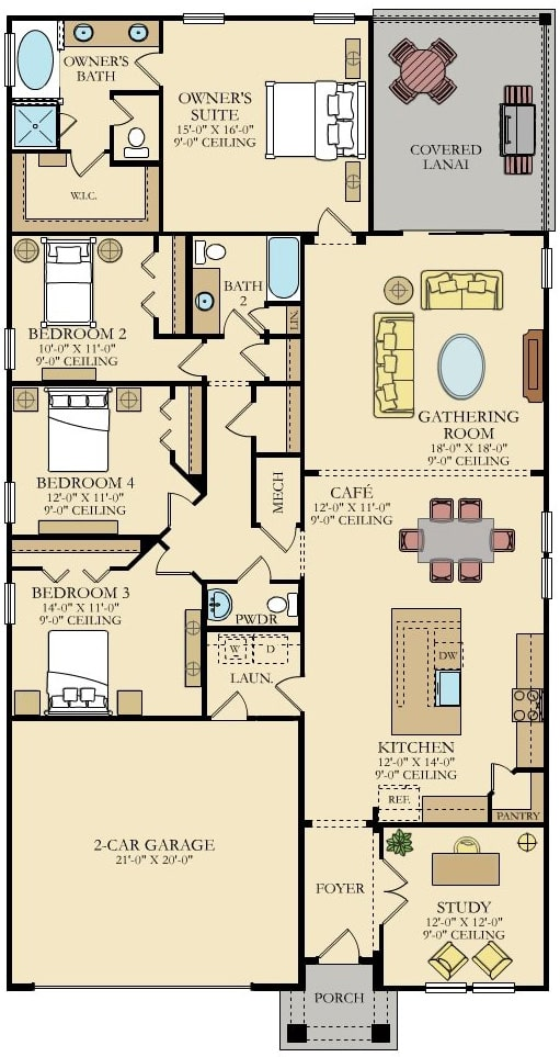 Lennar Home Sierra Floorplan at Tributary