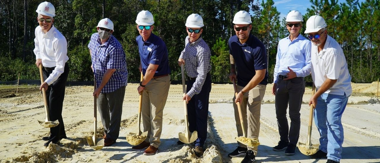 Tributary Builders with shovels at Model Home Village Groundbreaking October 2020