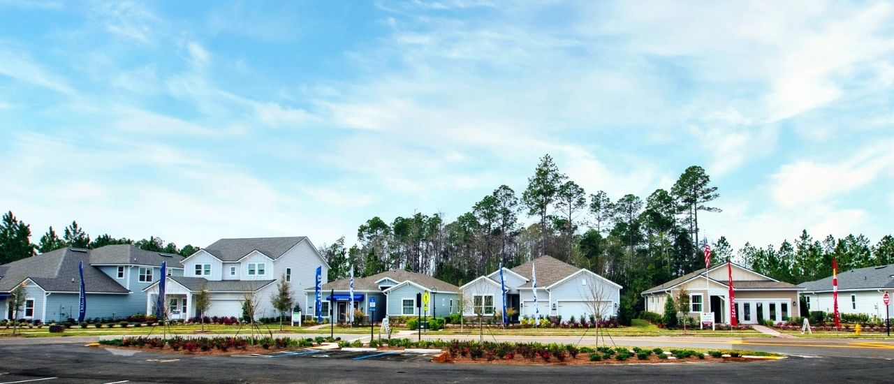 exterior model homes at Tributary
