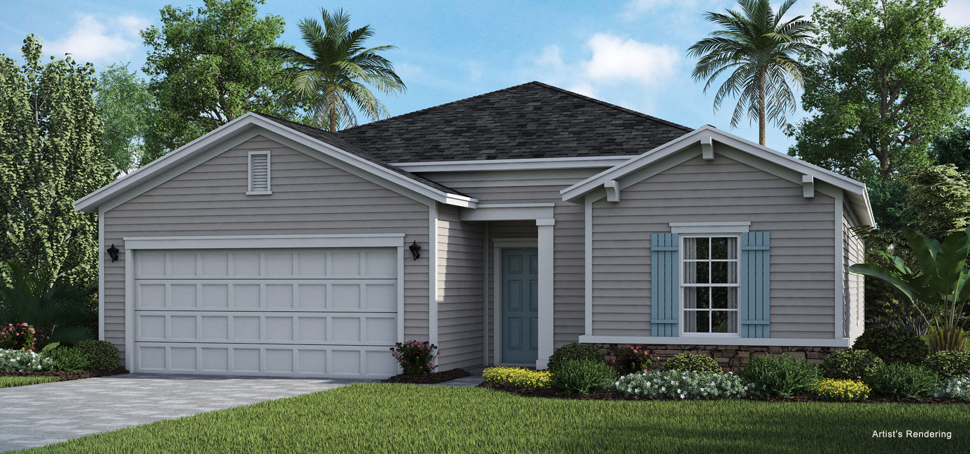 exterior elevation rendering of elan model home at lakeview tributary