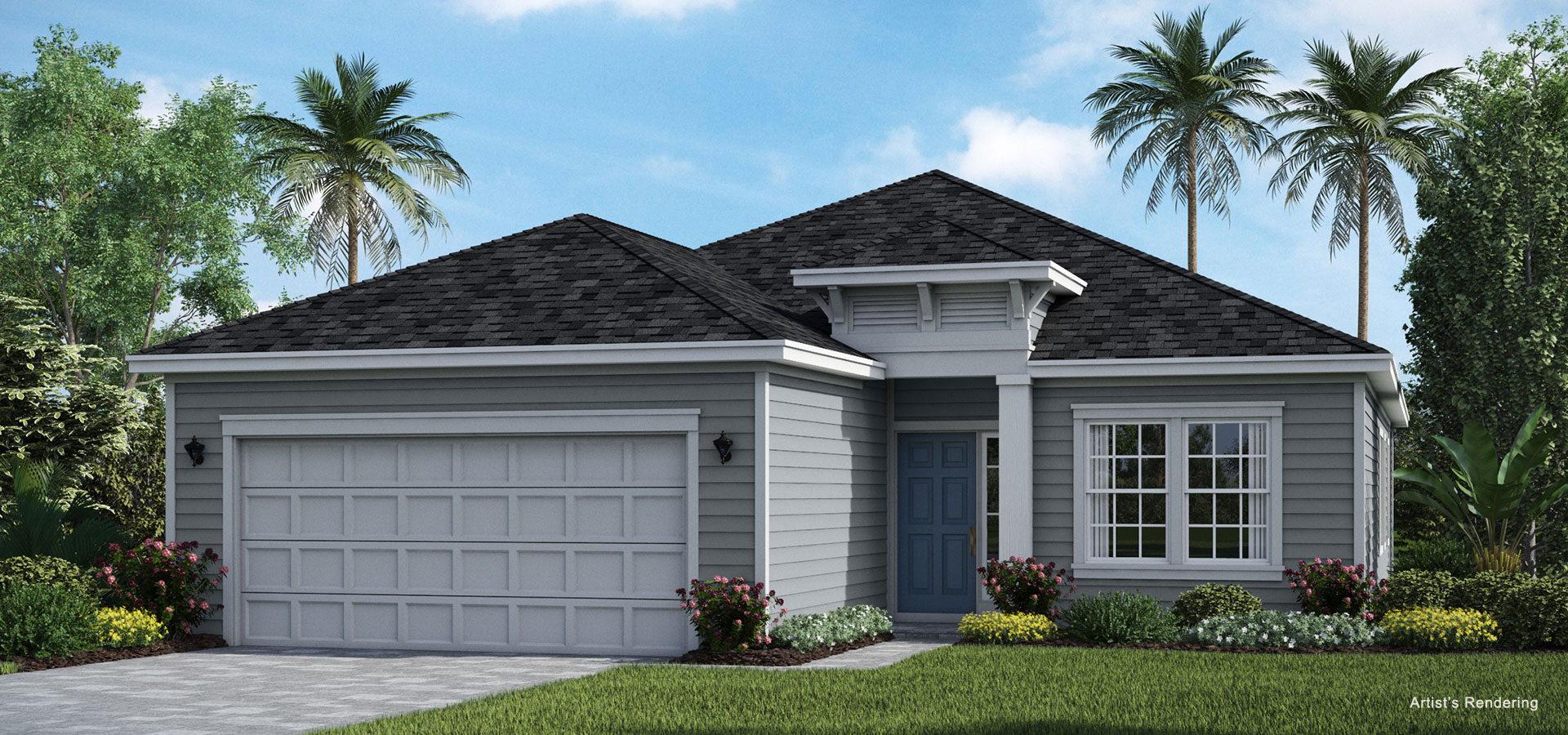 exterior rendering of halle model home at lakeview tributary