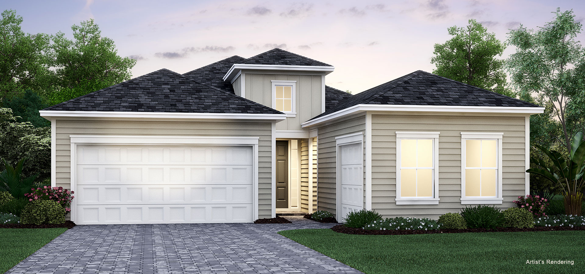 exterior rendering of independence model home at lakeview Tributary