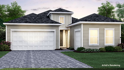 independence model home exterior rendering in tributary lakeview