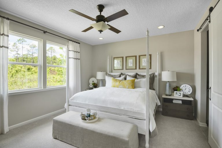 Richmond American Larimar furnished bedroom at Tributary