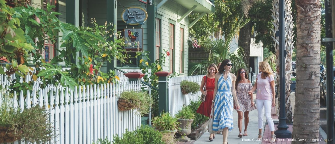 woman walking downtown amelia island